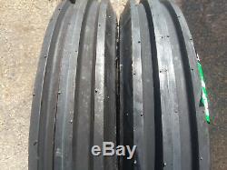 2 New 400-15 Farm F-2 Tri-rib 3 Rib Tires with Tubes 4 ply Tractor 4.00 Yanmar