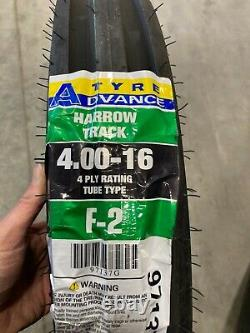 2 New Tires & 2 tubes 4.00 16 Advance F-2 3 rib 4ply TT Tractor Front 4.00x16