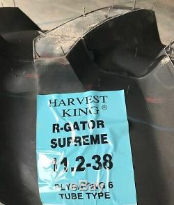 2 New Tractor Tires & 2 Tubes 11.2 38 Harvest King R-Gator 2 6 ply 11.2x38 FR