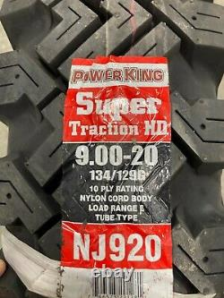 4 New Tires & Tubes 9.00 20 Power King Super Traction HD 10 ply 134/129G NTJ920