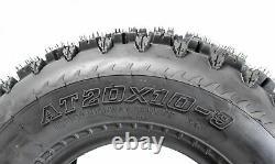 MASSFX MK 20x10-9 Rear ATV Tires 4Ply 2 Pack with 20x10-9 TR-6 Inner Tube 2 Pack