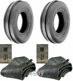 TWO 6.50-16 6.50X16 650-16 Tri-Rib 3 Rib 6Ply Tractor Tires & Tubes Heavy Duty