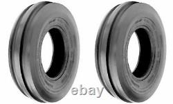 TWO 6.50-16 6.50X16 650-16 Tri-Rib 3 Rib Tractor Tires Heavy Duty 6 Ply Tubeless