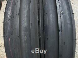 TWO 750X18, 750-18 Eight ply Triple Rib Tractor Tires with Tubes