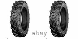 TWO 9.5x16, 9.5-16 R1 6 ply Bar Lug John Deere Tractor Tires with tubes