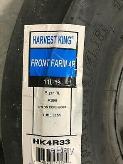 Tire & Tube 11 L 15 Harvest King 4 Rib F-2M Tractor Front 8 ply TL 11Lx15